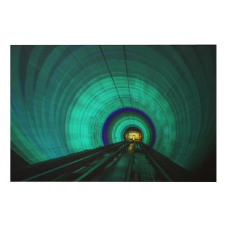 Blue railroad tunnel, Singapore Wood Wall Decor