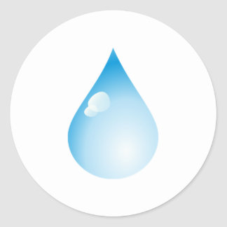 Blue Rain Drop Classic Round Sticker