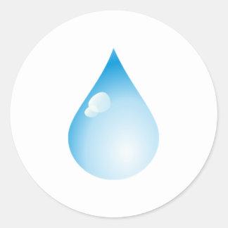 Blue Rain Drop Round Sticker