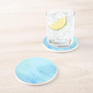 Blue Rain Storm Water Watercolor Paint Beverage Coasters
