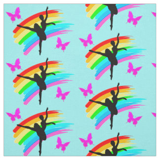 BLUE RAINBOW AND BUTTERFLY DANCER FABRIC