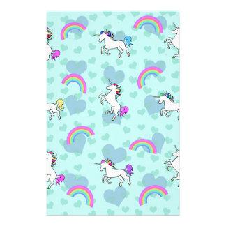 Blue Rainbow and Unicorns Pattern Personalized Stationery