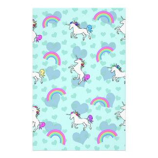 Blue Rainbow and Unicorns Pattern Stationery
