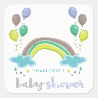 Blue Rainbow & Balloons Boy Baby Shower Sticker