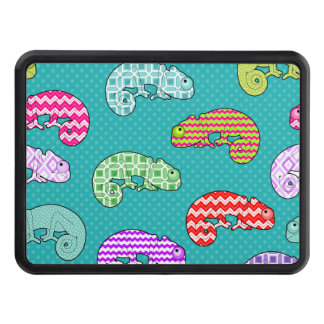 Blue Rainbow Chameleon Pattern Trailer Hitch Cover