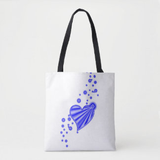 Blue Rainbow Heart with Stars Tote Bag