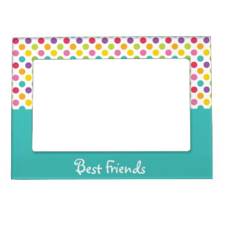 Blue & Rainbow Polka Dot Best Friends Frame Magnets