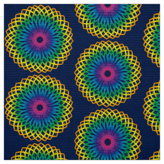 Blue Rainbow Spiral Fabric