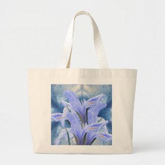Blue raindrop Iris Large Tote Bag
