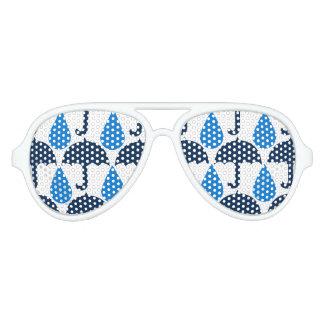 Blue Raindrops and Umbrellas Rainy Day Pattern Aviator Sunglasses