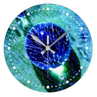 Blue Raindrops Water Pearls Macro Funny dial-plate Large Clock