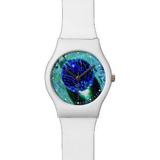 Blue Raindrops Water Pearls Macro Photo dial-plate Watches