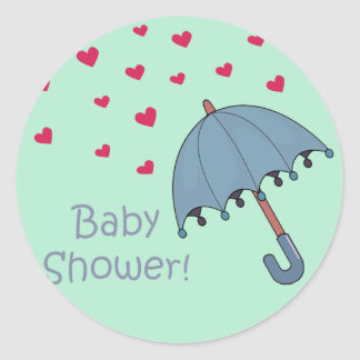 blue raining hearts baby shower classic round sticker