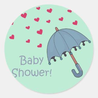 blue raining hearts baby shower round sticker
