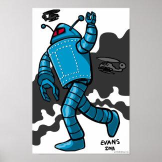Blue Rampaging Robot Poster