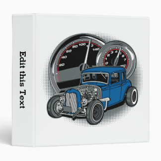 Blue Rat Rod Street Car 3 Ring Binders