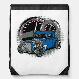 Blue Rat Rod Street Car Drawstring Bag