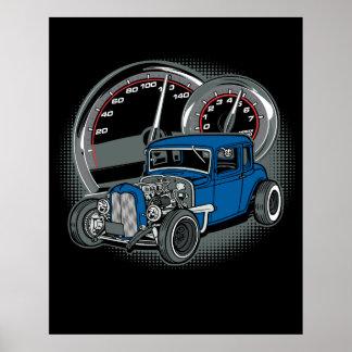 Blue Rat Rod Street Car Poster