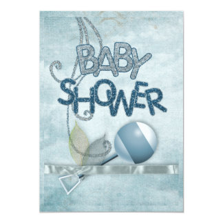 Blue Rattle Babyshower Invitation
