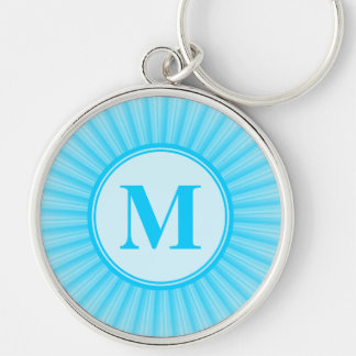 Blue Rays of Light Monogram Silver-Colored Round Keychain