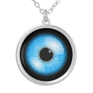 Blue Realistic Eyeball Halloween Silver Plated Necklace