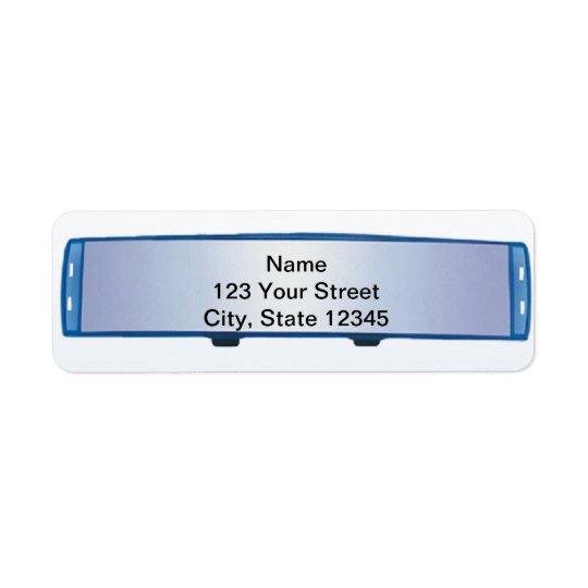 Blue Rearview Mirror on Blue Gradient Return Address Label