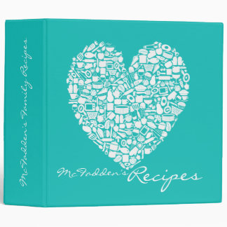 Blue Recipe Personalized Name Binder