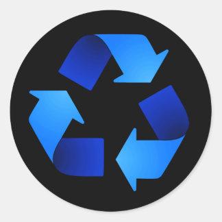 Blue Recycling Symbol Sticker