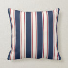 Blue, Red and Cream Vertical Cabana Stripe Throw Pillow