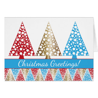 Blue Red and Gold Christmas Tree Pattern Card