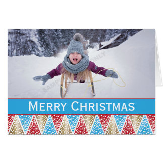 Blue Red and Gold Christmas Tree Pattern Photo Card