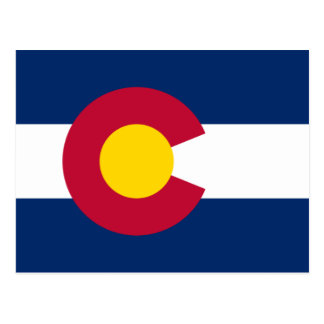 Blue Red and Gold Flag of Colorado Postcard