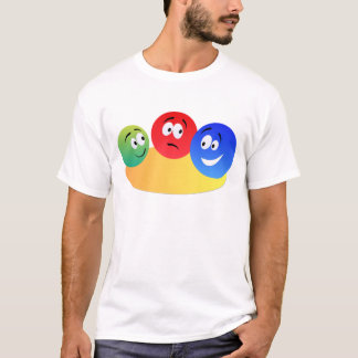 Blue,red and green fun colourful smiley's T-Shirt