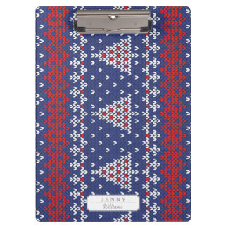 Blue  Red and White Christmas Tree Knitted Pattern Clipboard