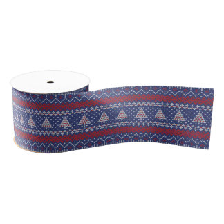 Blue  Red and White Christmas Tree Knitted Pattern Grosgrain Ribbon