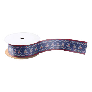 Blue  Red and White Christmas Tree Knitted Pattern Satin Ribbon