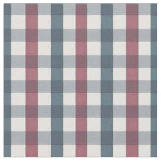 Blue, Red and White Plaid Pattern Fabric