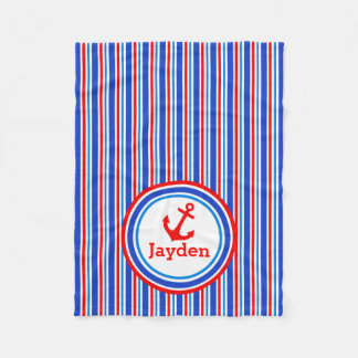 Blue, red and white striped name anchor blanket