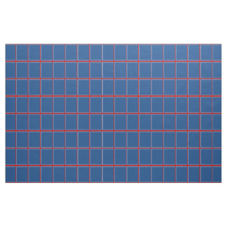 Blue Red and White Windowpane Check Fabric