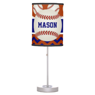 Blue Red Baseball Personalized Table Lamp