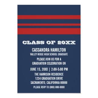 Blue/Red Bold Stripe Graduation Invite