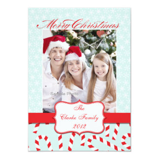 """Blue Red Candy Cane Merry Christmas Photo Card 5"""" X 7"""" Invitation Card"""