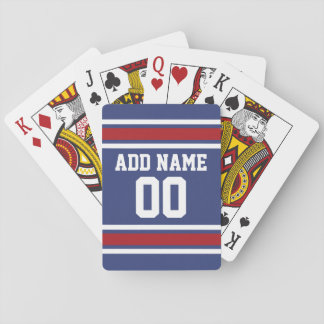 Blue Red Football Jersey Custom Name Number Poker Deck