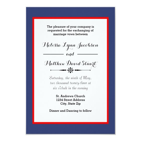 Blue & Red Framed - 3x5 Wedding Invitation