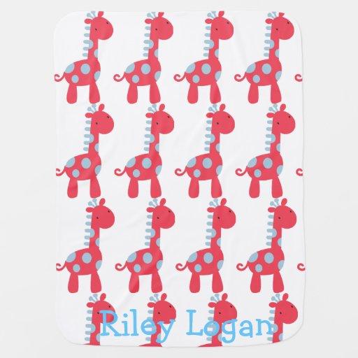 Blue & Red Giraffe Baby Blanket