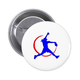 """Blue & Red Girl's""""FASTPITCH SOFTBALL"""" 2 Inch Round Button"""