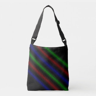 Blue Red Green Parallel Lines Pattern, Crossbody Bag