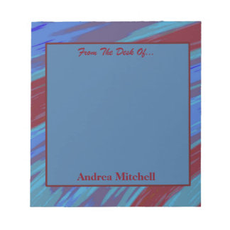 Blue Red Modern Swish Abstract Notepad