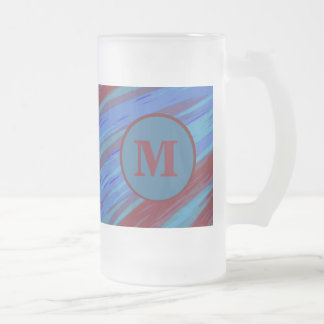 Blue Red Monogram Swish Abstract Frosted Glass Beer Mug