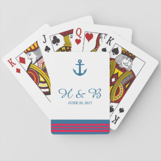 Blue Red Nautical Anchor Playing Cards
